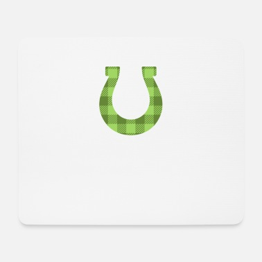 Kids St Patricks Day Buffalo Plaid Horseshoe - Mouse Pad