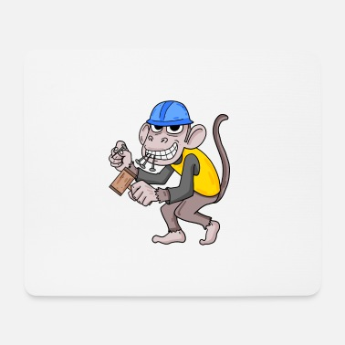 House Building Builder house builder house building monkey gift - Mouse Pad