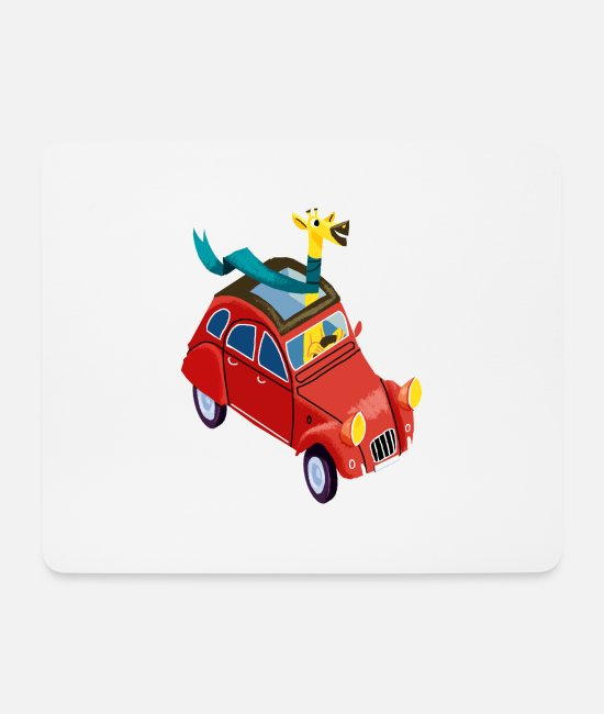 Vehicle Mouse Pads - Giraffe in the car - Mouse Pad white