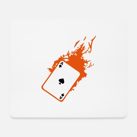 Poker Tapis de souris  - carte poker card as flamme pique2 - Tapis de souris blanc