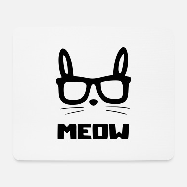 Glasses cat glasses meow - Mouse Pad