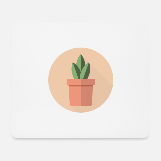Image Mouse Pads - Flat 3 Leaf Potted Plant Motif - Mouse Pad white