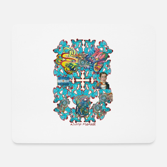 South America Mouse Pads - composition with flag and Belgrano - Mouse Pad white