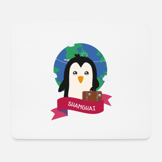 Skies Mouse Pads - Penguin Globetrotter from SHANGHAI - Mouse Pad white