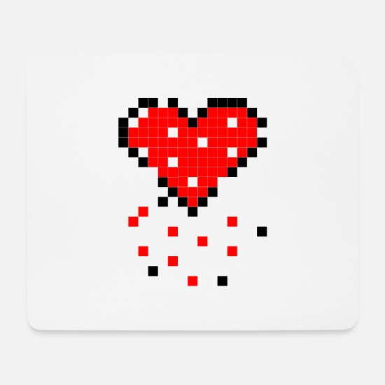 Pixel Heart Mouse Pads - The decaying pixel heart - Mouse Pad white