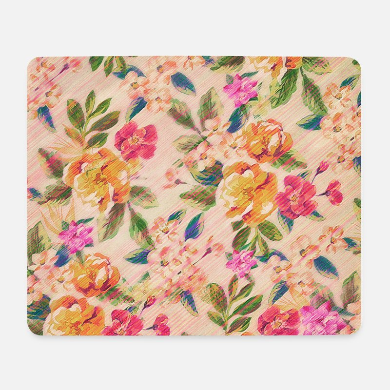 Floral Tapis de souris  - Vintage Glitched Pastel Flowers - Phone Case - Tapis de souris blanc