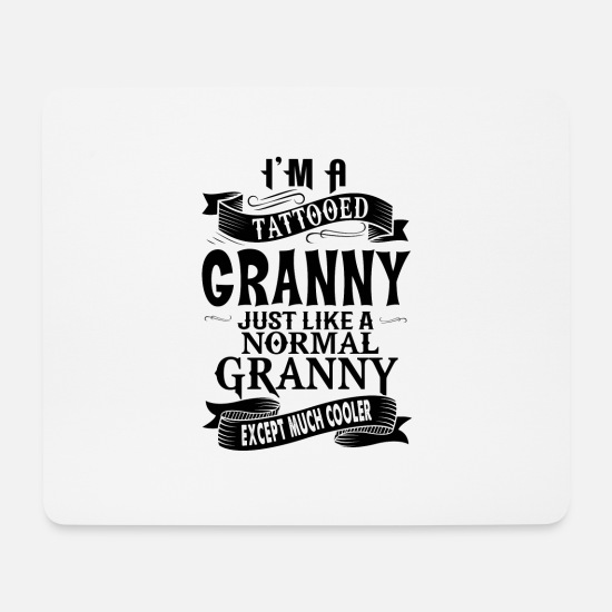 Granny Mouse Pads - TATTOOED GRANNY - Mouse Pad white