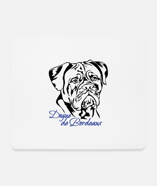 Dog Owner Mouse Pads - Dogue de Bordeaux canine dog Wilsigns mastiff - Mouse Pad white
