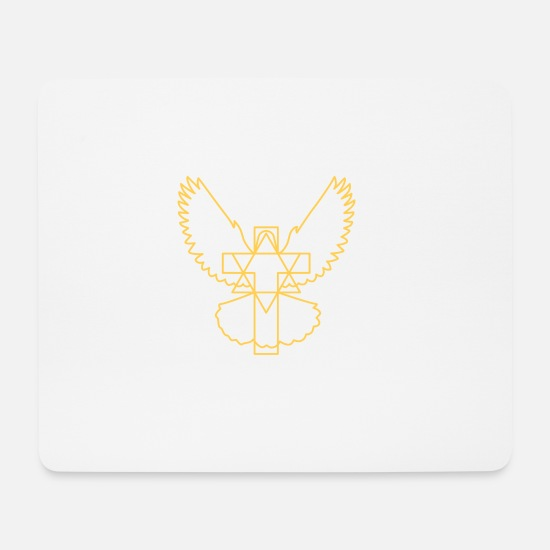 Beak Mouse Pads - Cross dove star modern without beak - Mouse Pad white