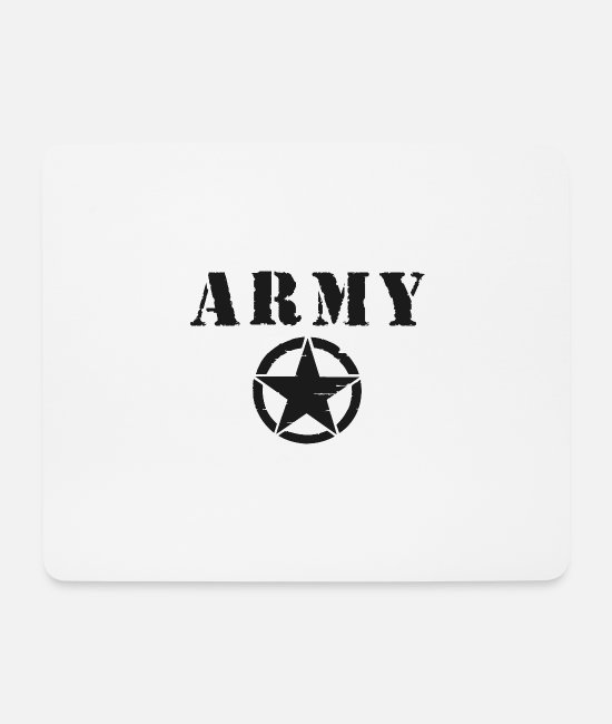 Cop Mouse Pads - Black Army Star - Mouse Pad white
