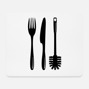 Toilet Brush Cutlery with a toilet brush - Mouse Pad