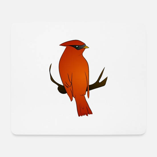 Red Mouse Pads - Red Waxwing - Mouse Pad white