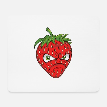 Common Tropical Fruits angry grim strawberry strawberry motif graphic - Mouse Pad