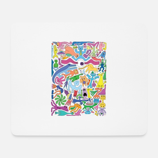 Trippy Mouse Pads - Creature Collective - Mouse Pad white