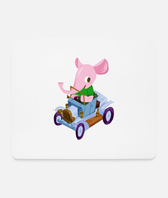 Vehicle Mouse Pads - Elephant in a vintage car - Mouse Pad white