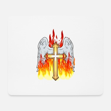 Purgatory Flame cross crosses Satan horror purgatory hell - Mouse Pad