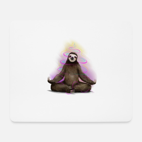 Meditation Mouse Pads - Yoga Sloth - Mouse Pad white