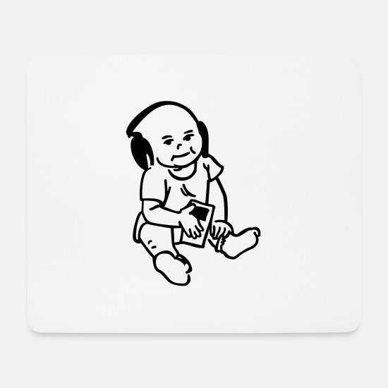 Baby Girl Mousepads  - baby mit mp3-Player - Mousepad Weiß