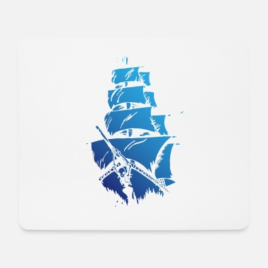 Blue ship - Mouse Pad