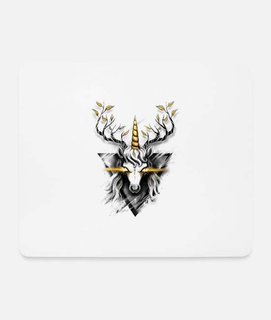Stag Mouse Pads - Deer Unicorn - Mouse Pad white