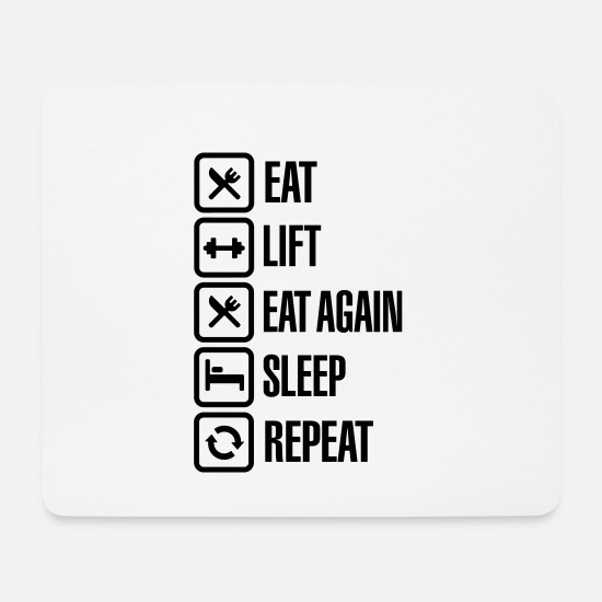 Palestra Tappetini mouse  - Eat - Lift - Eat again - Sleep - Repeat - Tappetino mouse bianco