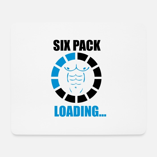 Six Mouse Pads - SIX PACK LOADING - Funny Gym - Mouse Pad white