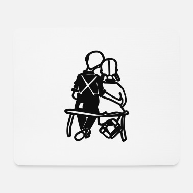 Bench couple on bench - Mouse Pad
