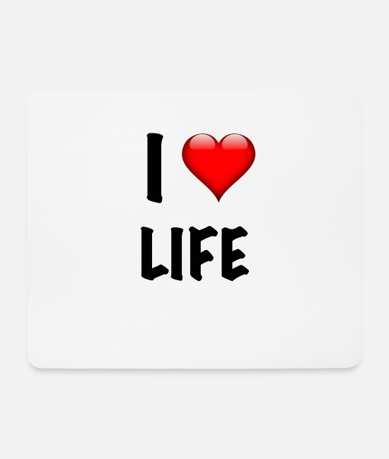 Red Mouse Pads - I LOVE LIFE - BLACK - Mouse Pad white
