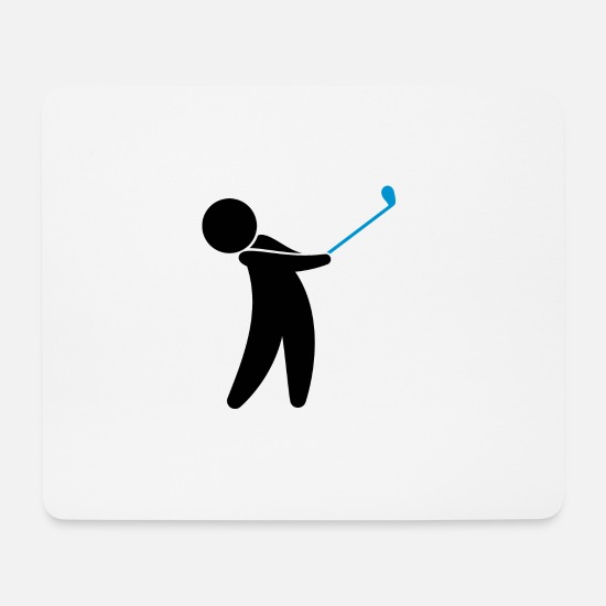 Symbol  Mouse Pads - A Golfer Swings His Golf Club - Mouse Pad white