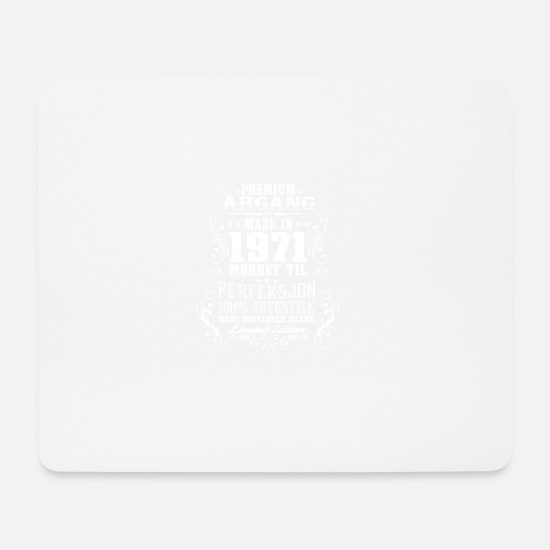 Birthday Mouse Pads - 1971 47 premium årgang bursdag gave NO - Mouse Pad white