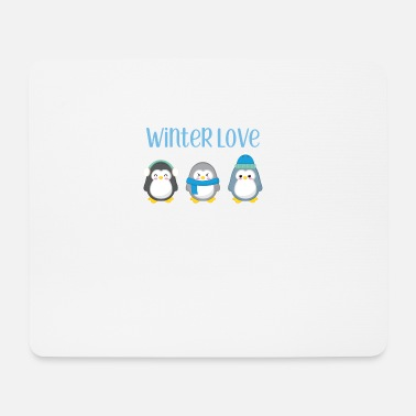 Winter Penguin - Winter - Gift - Sweet - Penguins - Mouse Pad