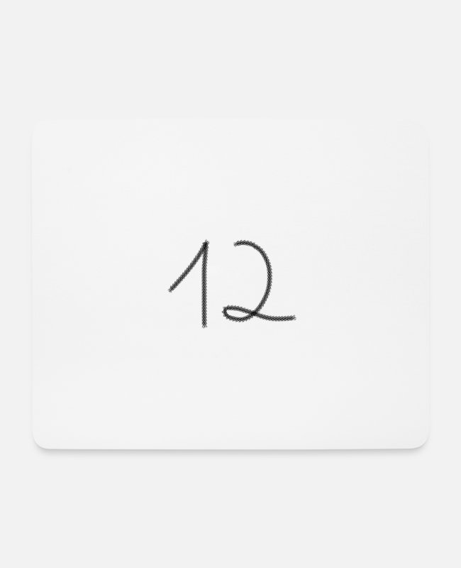 Twenty-three Mouse Pads - 12 Number Twelve Number Twelve Number - Mouse Pad white