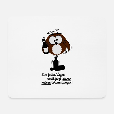 Owl, early bird, funny, worm - Mouse Pad