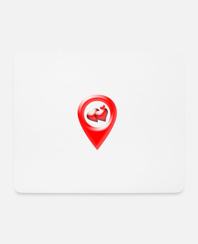 "Heart Mouse Pads - Location ""Love"" - Mouse Pad white"