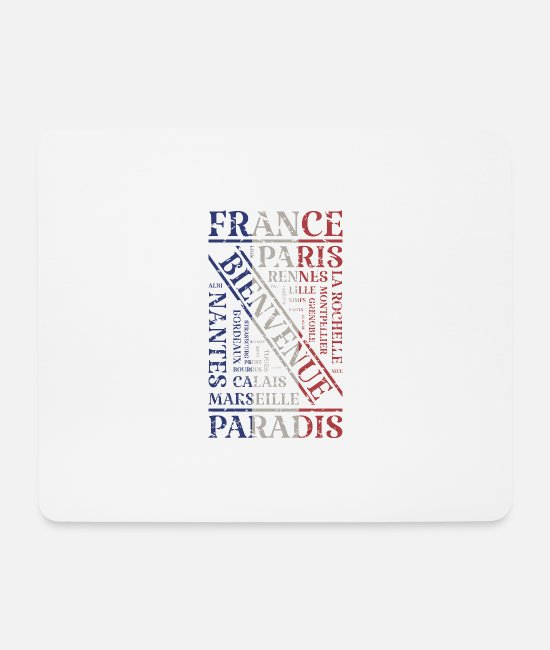 French Flag Mouse Pads - France Flag Used Look Cities Paris Lyon EU - Mouse Pad white
