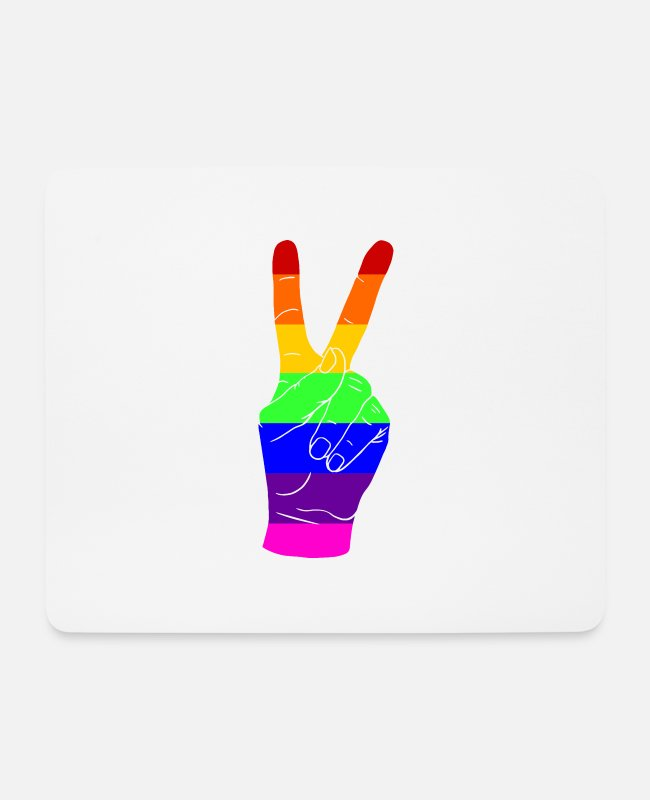 Proud Mouse Pads - Gay Pride - Peace - Victory - EN - Mouse Pad white