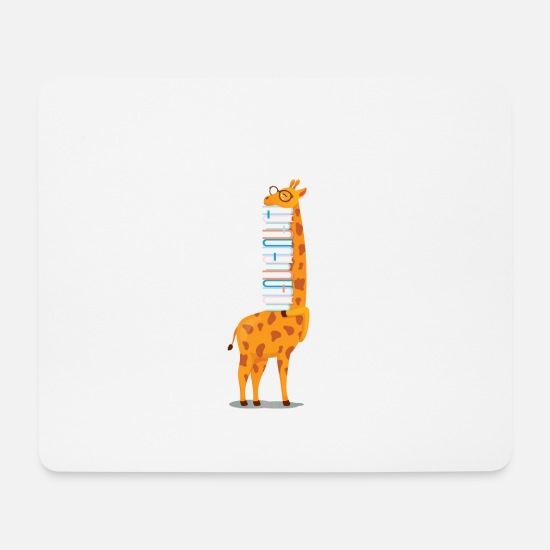 Anniversaire Tapis de souris  - Giraffe, So Many Books So Little Time - Tapis de souris blanc