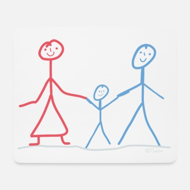 Stick Family stick figure dad mom son uncle aunt - Mouse Pad