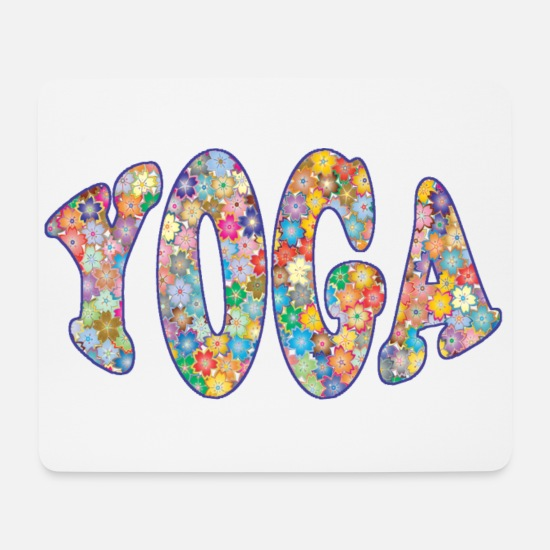 Yogi Mouse Pads - yoga little flowers - Mouse Pad white