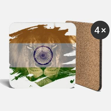 Ancestry India Flag & African Lion Picture - Coasters