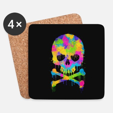 Skull Trendy & Cool Abstract Graffiti Skull - Phone Case - Onderzetters (4 stuks)