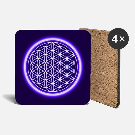 Birthday Mugs & Drinkware - Flower of life spiritual gift idea protection symbol - Coasters white
