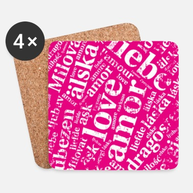 Cover pink - Love in verschiedenen SprachenCover p - Coasters (set of 4)