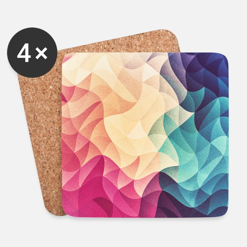 Abstract Mokken & toebehoor - Abstract low poly color pattern design (spectrum) - Onderzetters wit