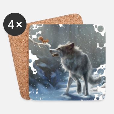 Vinter Wolf and Squirrel Winter - Underlägg (4-pack)