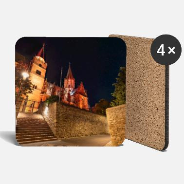 St. Catherine's Church illuminated in red with stars - Coasters