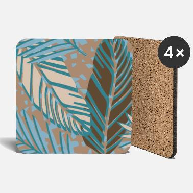 Jungle Terrazzo Style Tropical Palm Leaves - Coasters