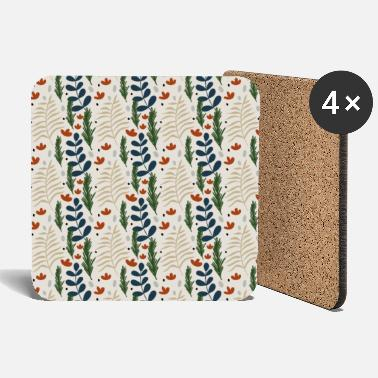 Floral Christmas Botanical Pattern Pretty Beige - Coasters