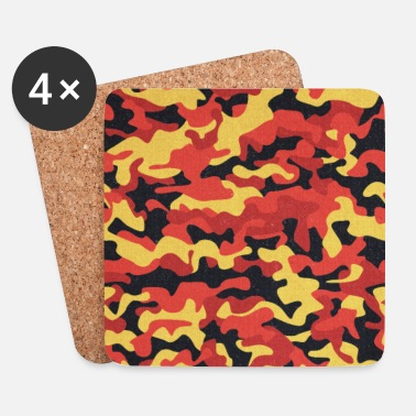 Shops Camouflage Pattern in Red Black Yellow  - Underlägg (4-pack)