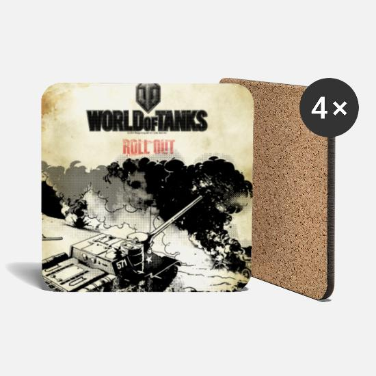 Game Mugs & Drinkware - World of Tanks Battelfield Mono Cover - Coasters white